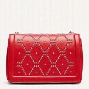 Zara RED Studded leather crossbody bag